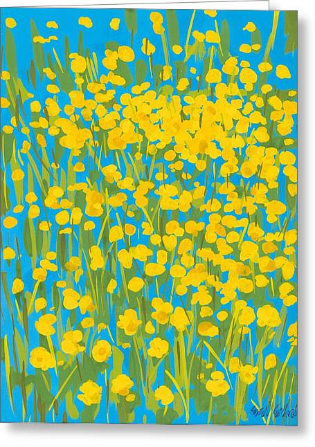 Green And Yellow Greeting Cards - Buttercups Greeting Card by Sarah Gillard