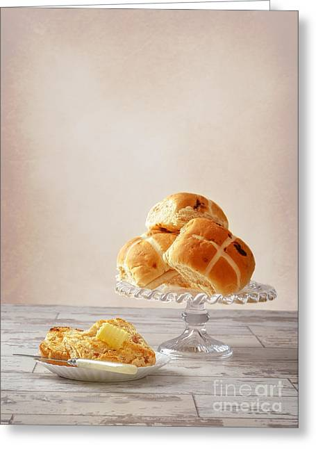 Bun Photographs Greeting Cards - Buttered Hot Cross Bun Greeting Card by Amanda And Christopher Elwell