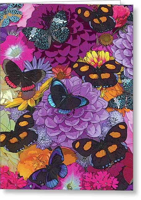 Digital Paintings Greeting Cards - Butterflies and Flowers 2 Greeting Card by JQ Licensing