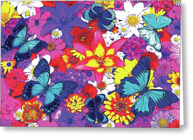 Butterfly Paintings Greeting Cards - Butterflies and Flowers Greeting Card by JQ Licensing