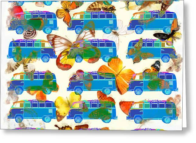 Surfing Art Greeting Cards - Butterflies and Surfer Vans Greeting Card by Edward Fielding