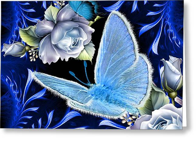 Floral Digital Art Digital Art Greeting Cards - Butterflies Are Blue Greeting Card by G Berry