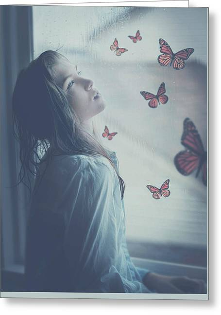Self-portrait Photographs Greeting Cards - Butterflies in Spring  Greeting Card by Erica Almquist