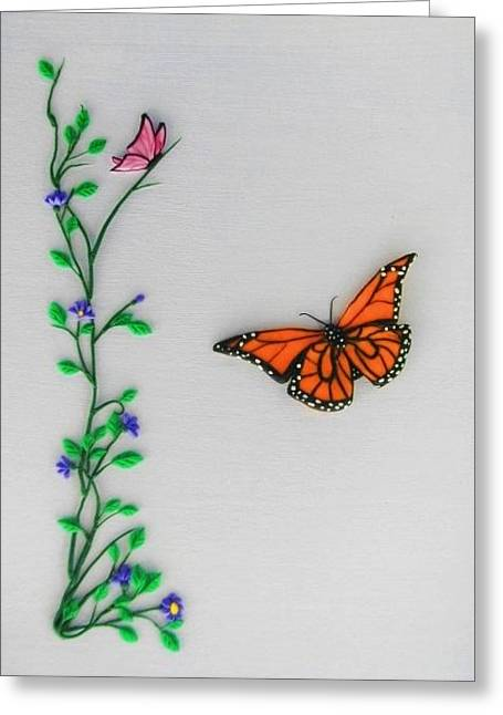 Acrylic Polymer Clay Greeting Cards - Butterflies Greeting Card by Monica  Webster