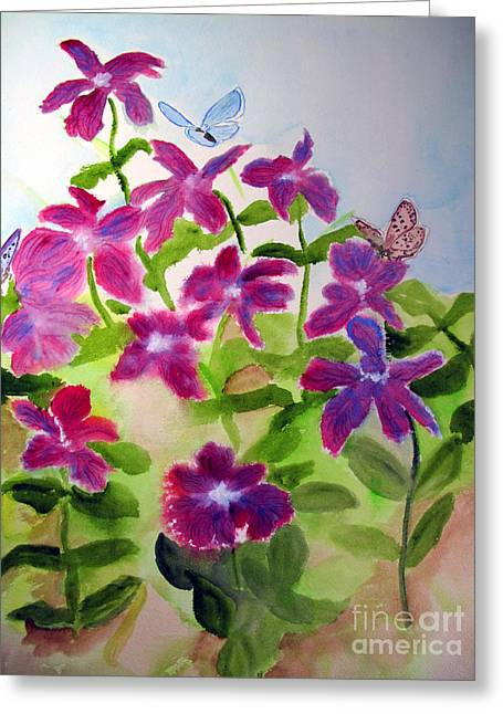 Butterfly On Lavender Greeting Cards - Butterflies on Purple Flowers Greeting Card by Sandy McIntire