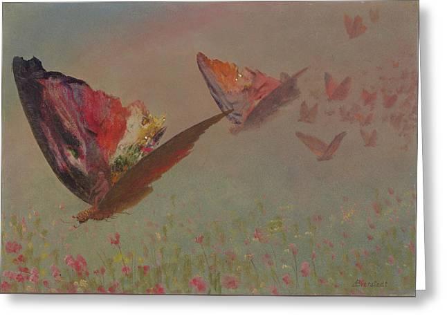 Bierstadt Greeting Cards - Butterflies with Riders Greeting Card by Albert Bierstadt