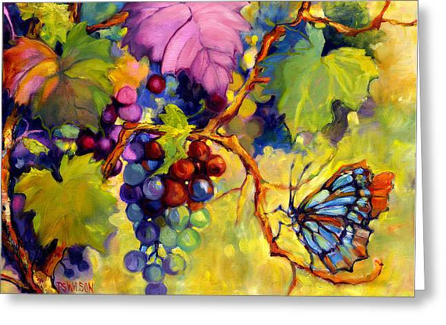 Purple Grapes Greeting Cards - Butterfly and Grapes Greeting Card by Peggy Wilson