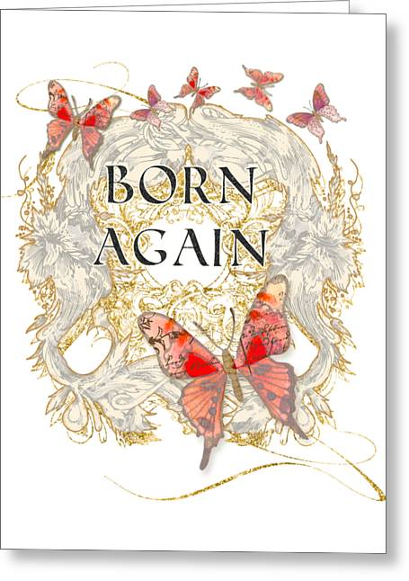Born Again Greeting Cards - Butterfly Butterflies Swirling Born Again Christian Symbol Greeting Card by Audrey Jeanne Roberts