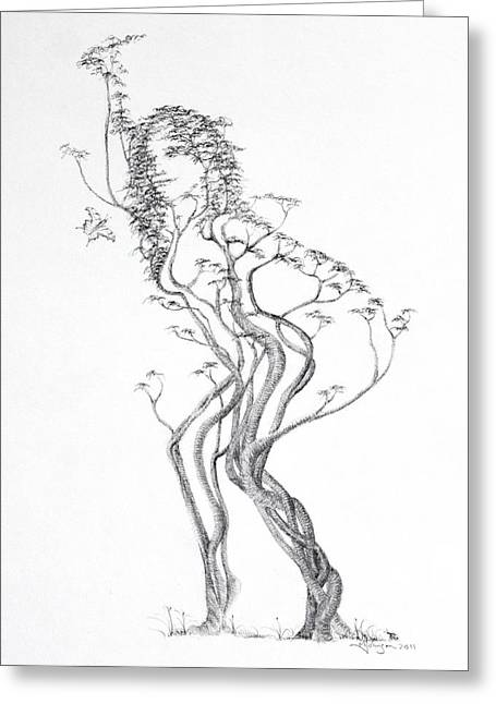 Tree Roots Drawings Greeting Cards - Butterfly Dancer Greeting Card by Mark Johnson