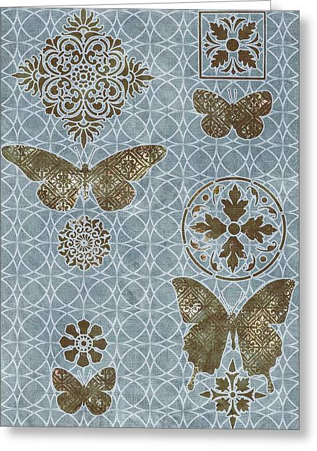 Fabric Greeting Cards - Butterfly Deco 1 Greeting Card by JQ Licensing
