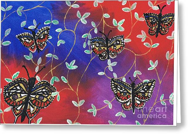 Fluttering Paintings Greeting Cards - Butterfly Family Tree Greeting Card by Karen J Jones