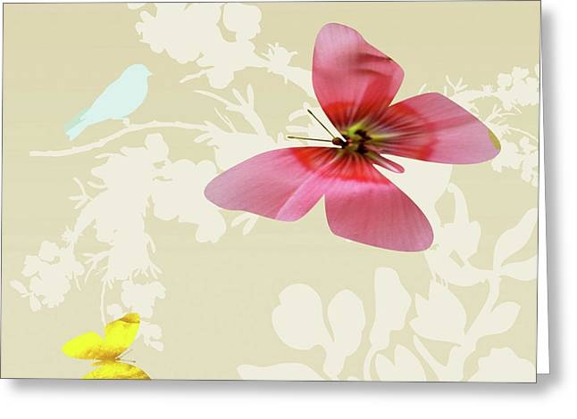 Photos Of Autumn Digital Greeting Cards - Butterfly Floral  6 Greeting Card by Debra     Vatalaro