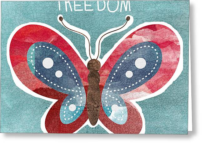 .freedom Mixed Media Greeting Cards - Butterfly Freedom Greeting Card by Linda Woods