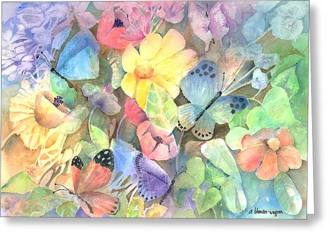 Butterfly Garden Greeting Cards - Butterfly Garden Greeting Card by Arline Wagner