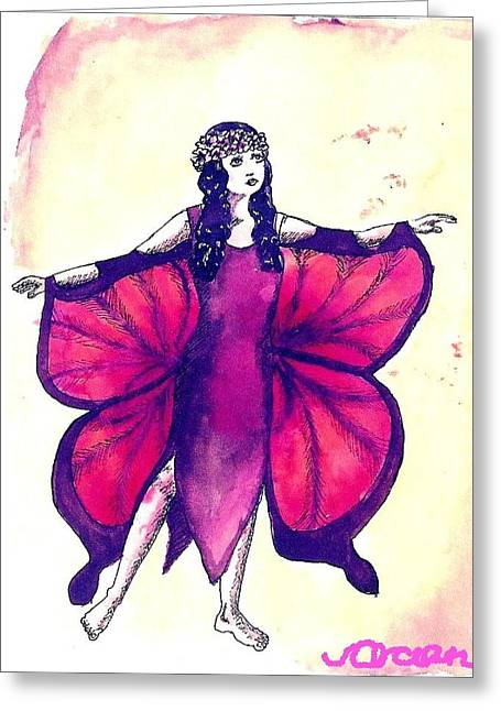 Butterfly Girl Greeting Card by Ocean
