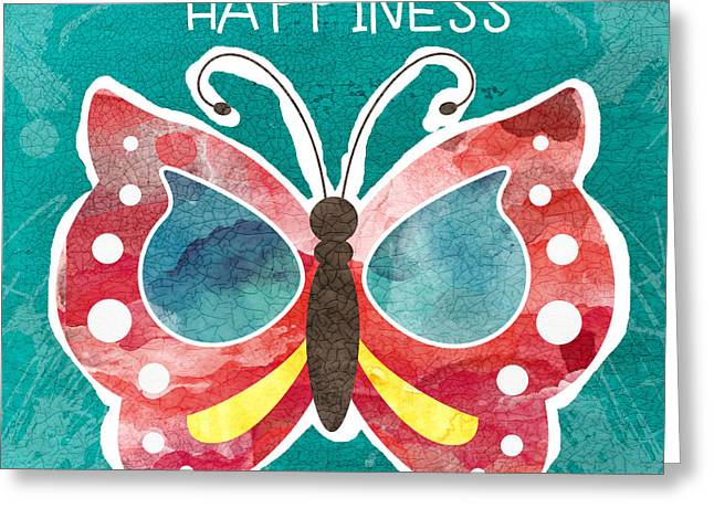 Butterfly Happiness Greeting Card by Linda Woods