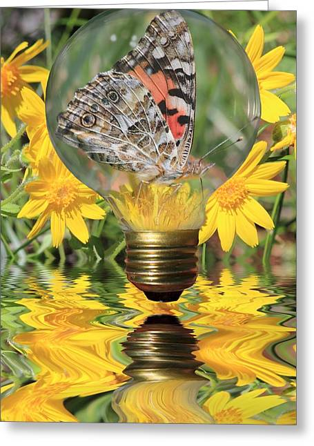 Glass Floats Greeting Cards - Butterfly In A Bulb II Greeting Card by Shane Bechler