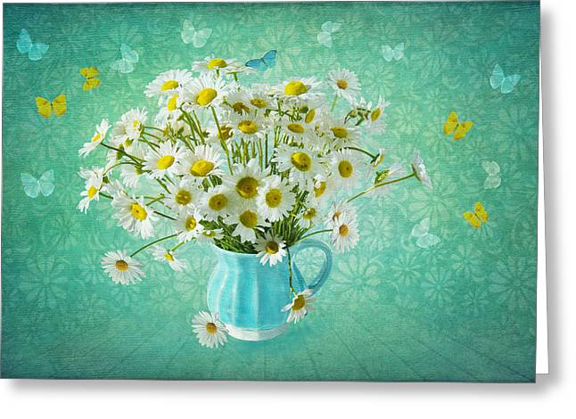 Floral Digital Art Digital Art Greeting Cards - Butterfly Kisses and Flower Petal Wishes  Greeting Card by Marina Kojukhova