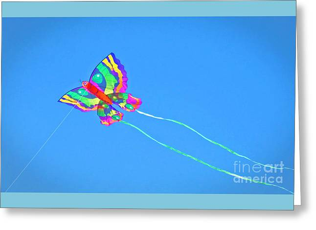 Kite Greeting Cards - Butterfly Kite Flying High Greeting Card by Ann Horn