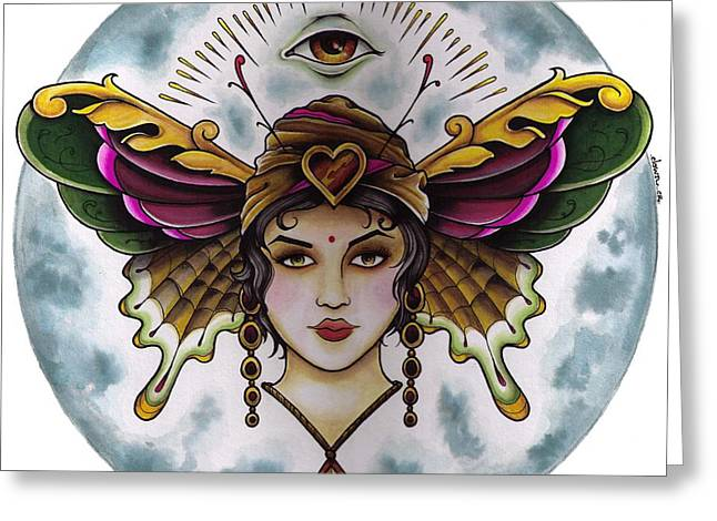 Tattoo Flash Paintings Greeting Cards - Butterfly Lady Greeting Card by Matthew Powell