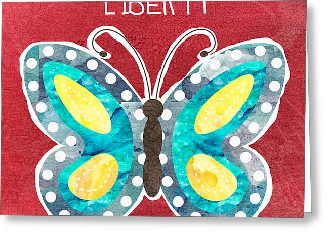 Wings Mixed Media Greeting Cards - Butterfly Liberty Greeting Card by Linda Woods