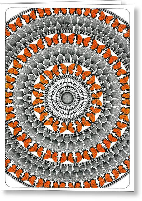 Repeat Drawings Greeting Cards - Butterfly Mandala Greeting Card by Rich Banks