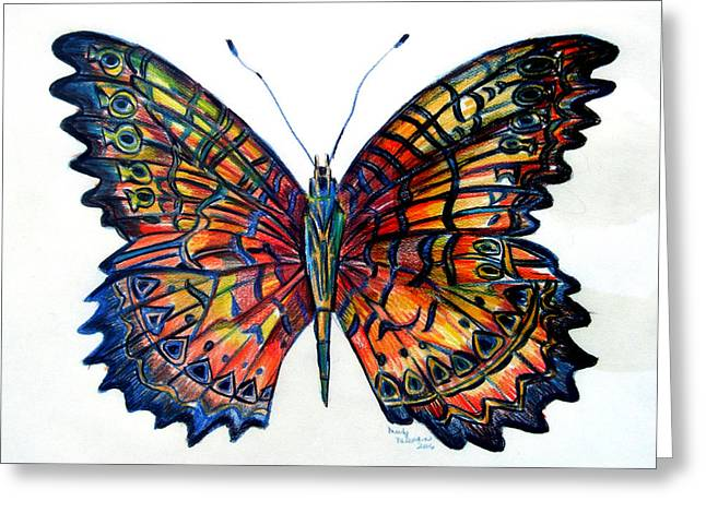 Butterflies Drawings Greeting Cards - Butterfly Greeting Card by Mindy Newman