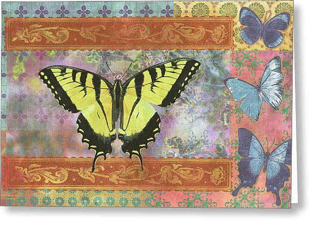 Butterflies Paintings Greeting Cards - Butterfly Mosaic Greeting Card by JQ Licensing