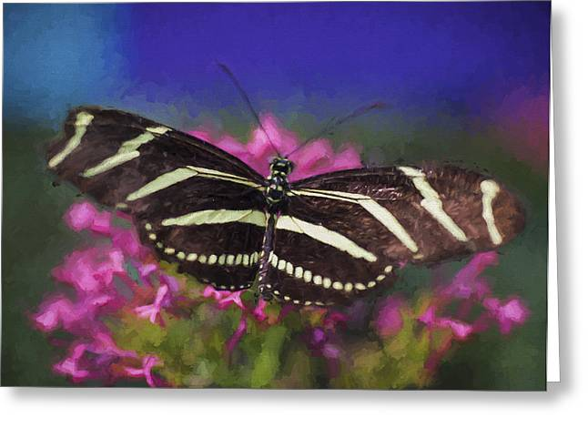Color Enhanced Greeting Cards - Butterfly on a flower Greeting Card by Gloria Anderson