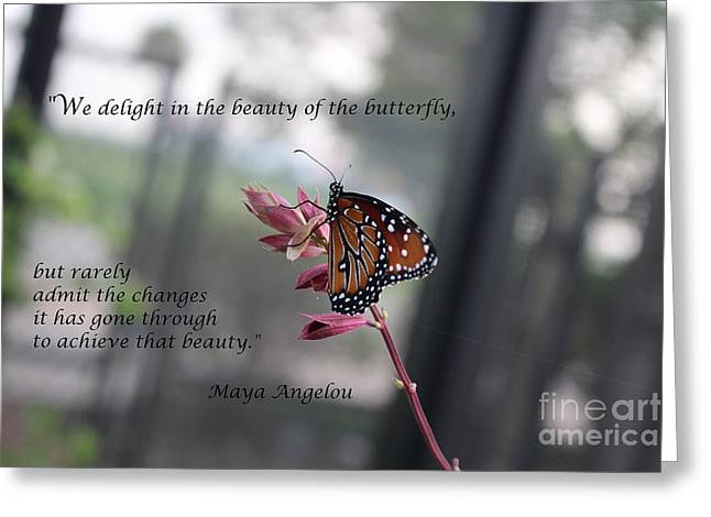 Butterfly Quote Art Print Greeting Card by Ella Kaye Dickey