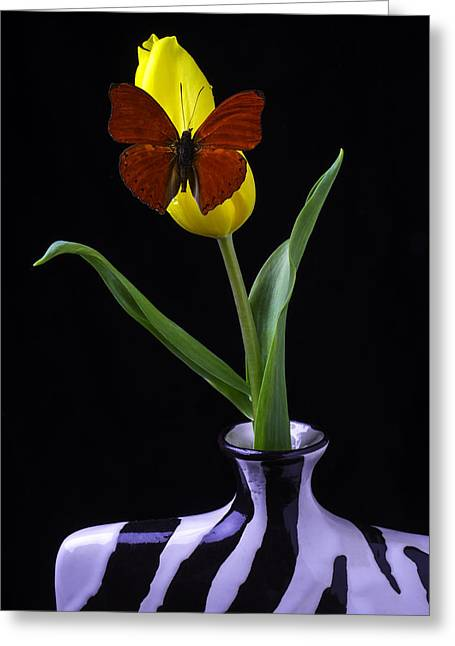 Rain Drop Greeting Cards - Butterfly Resting On Yellow Tulip In Vase Greeting Card by Garry Gay