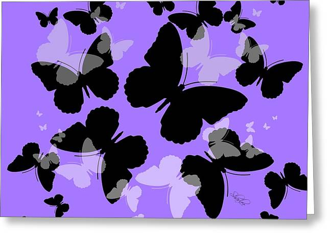 Butterfly Tapestries - Textiles Greeting Cards - Butterfly Shadows Greeting Card by Sharon Johnston