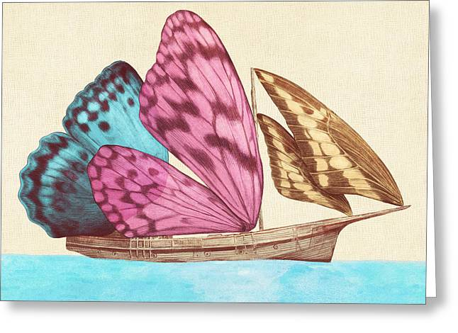 Voyage Drawings Greeting Cards - Butterfly Ship Greeting Card by Eric Fan
