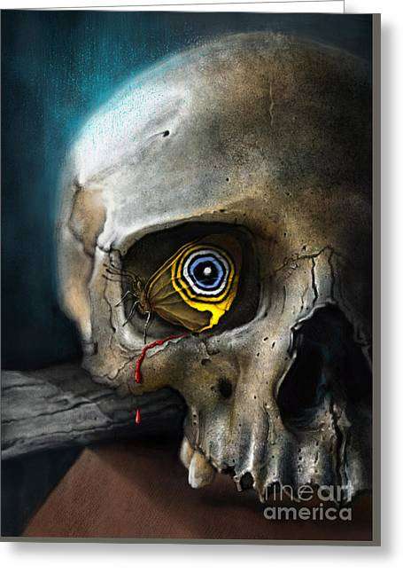 Photoshop Greeting Cards - Butterfly Skull Greeting Card by Andre Koekemoer