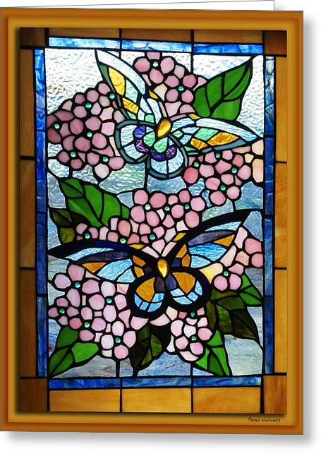 Photography By Thomas Woolworth Greeting Cards - Butterfly Stained Glass Window Greeting Card by Thomas Woolworth