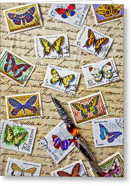 Calligraphy Pen Greeting Cards - Butterfly stamps and old document Greeting Card by Garry Gay