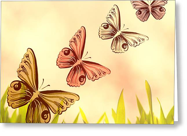 Kinderzimmer Greeting Cards - Butterflies Fantasy Greeting Card by Tanja Riedel