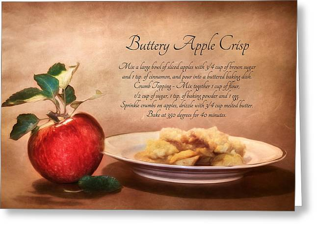 Crisp Mixed Media Greeting Cards - Buttery Apple Crisp Greeting Card by Lori Deiter