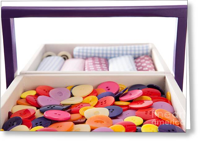 Sewing Supplies Greeting Cards - Buttons and textile fabrics in a sewing box Greeting Card by Wolfgang Steiner