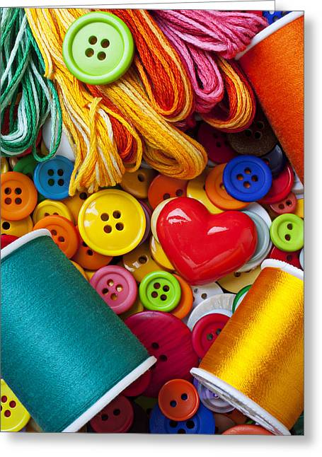 Disk Greeting Cards - Buttons and thread Greeting Card by Garry Gay