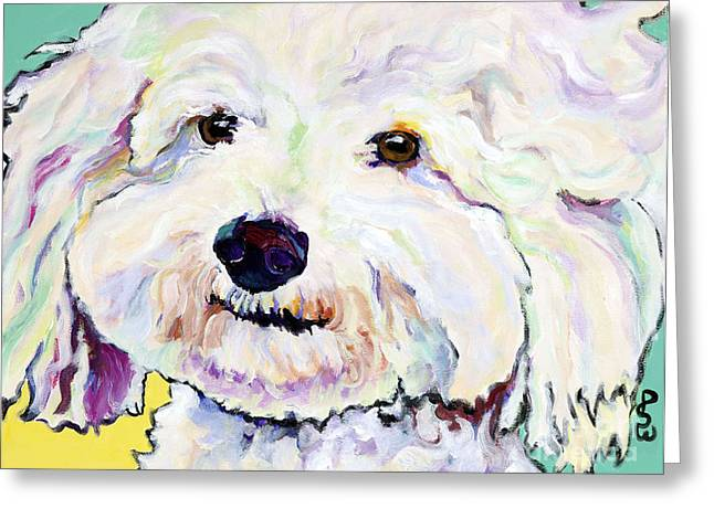 White Dogs Greeting Cards - Buttons    Greeting Card by Pat Saunders-White