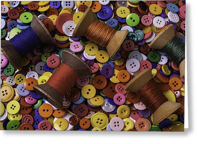 Buttons Greeting Cards - Buttons With Thread Greeting Card by Garry Gay