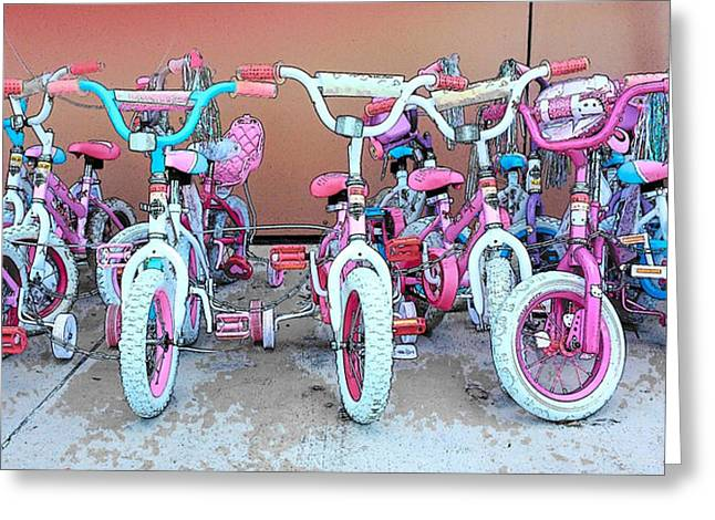 Daughter Gift Greeting Cards - Buy Me A Bike Daddy Greeting Card by Strangefire Art       Scylla Liscombe