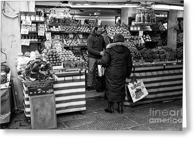 Fruit Store Greeting Cards - Buying Fruit in Venice Greeting Card by John Rizzuto