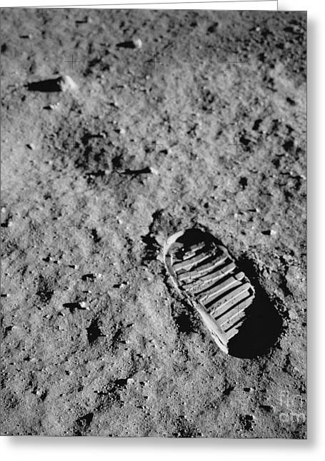 Lunar Surface Greeting Cards - Buzz Aldrins Moon Footprint Greeting Card by Nasa