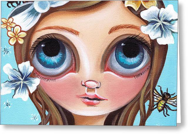 Buzzing Blossom Greeting Card by Jaz Higgins
