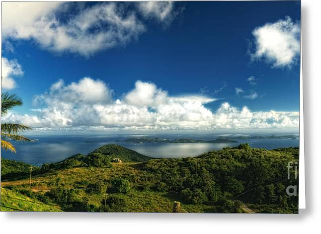Panoramic Ocean Greeting Cards - British Virgin Island Pano 3 Greeting Card by Timothy Hacker