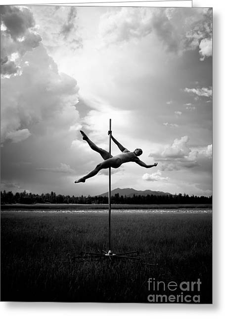 Bw Pole Dancing In A Storm Greeting Card by Scott Sawyer