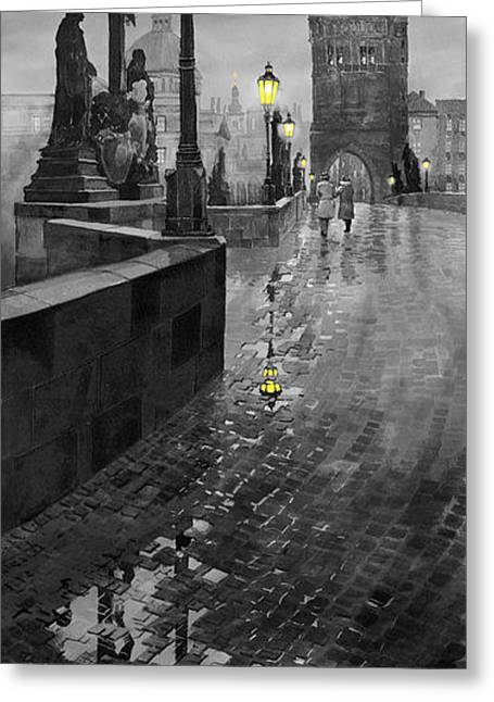 Cityscape Digital Art Greeting Cards - BW Prague Charles Bridge 01 Greeting Card by Yuriy  Shevchuk