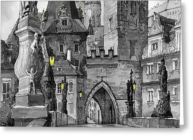 BW Prague Charles Bridge 02 Greeting Card by Yuriy  Shevchuk